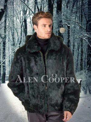 Men's coal black super smooth real rabbit fur winter bomber jacket
