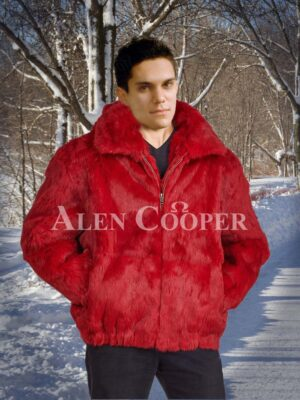 Men's coral red real rabbit fur mid-length winter outerwear with protective hood
