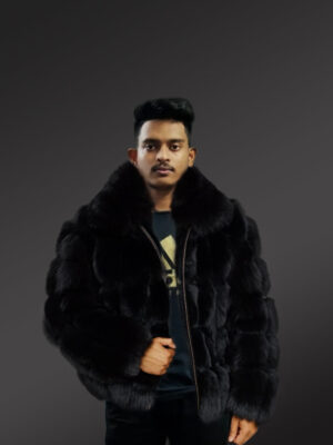 Men's genuine fox fur paragraph winter coat with comfy collar new