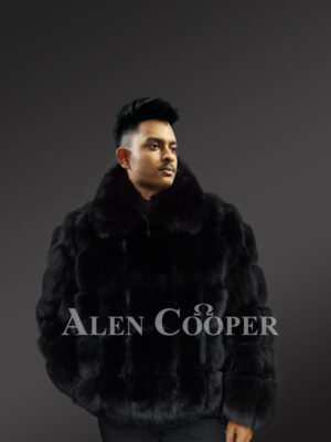 Men's genuine fox fur paragraph winter coat with comfy collar new view