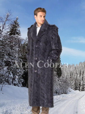 Men's glossy mink fur full length iconic incredible warm winter overcoat