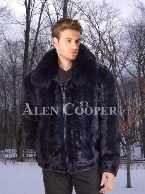 Men's glossy navy real mink fur incredible warm bomber jacket