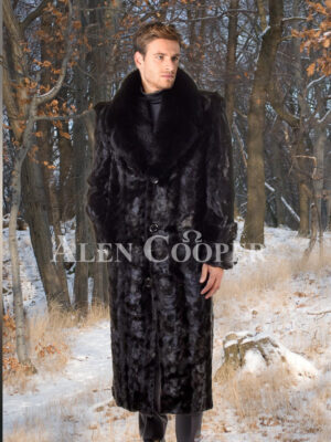 Men's iconic black real mink fur full length overcoat with fur trim collar