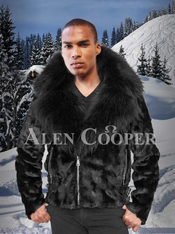 Men's iconic coal-black full sleeve mink fur winter jacket with fox fur collar and hood