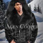 Men's iconic coal-black full sleeve mink fur winter jacket with fox fur collar & hood
