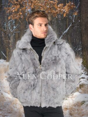 Men's iconic grey mid-length bomber styled rabbit fur full sleeve jacket with hood