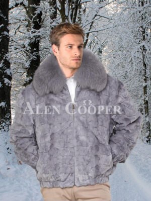 Men's iconic grey real mink fur front zipper classic bomber jacket