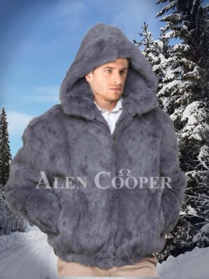 Men's iconic grey real rabbit fur hooded winter outerwear