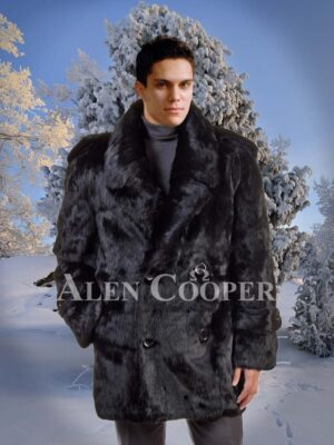 Men's iconic real mink fur mid-length warm winter coat in black