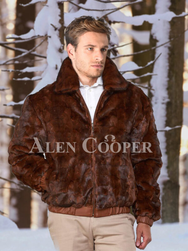 Men's iconic real mink warm reversible to leather bomber jacket in brown