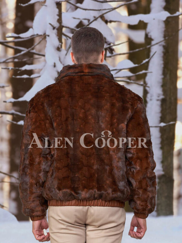 Men's iconic real mink warm reversible to leather bomber jacket in brown back side view