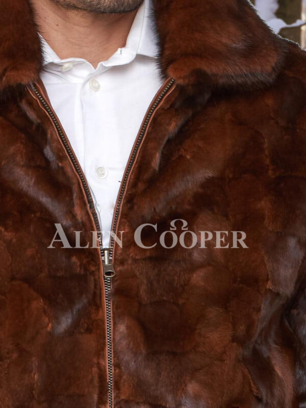 Men's iconic real mink warm reversible to leather bomber jacket in brown close view