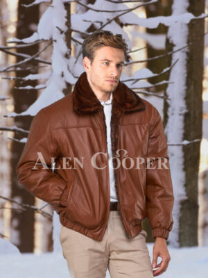 Men's iconic real mink warm reversible to leather bomber jacket in brown reversible view