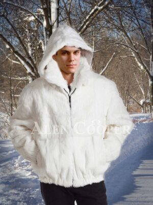 Men's iconic super soft real rabbit fur winter hooded coat