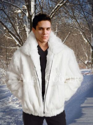 Men's iconic super soft real rabbit fur winter hooded coat in white