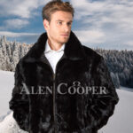 Men's iconic super warm reversible mink fur bomber jacket in glossy black