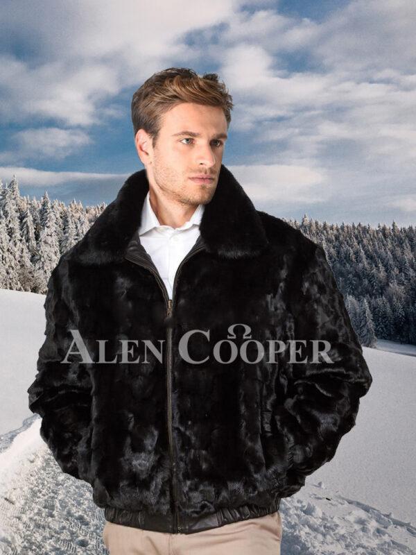 Men's iconic super warm reversible mink fur bomber jacket in glossy black