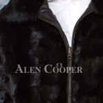 Men's iconic super warm reversible mink fur bomber jacket in glossy black close view