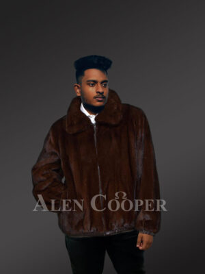 Men's mahogany brown reversible real mink fur straight warm winter coat new