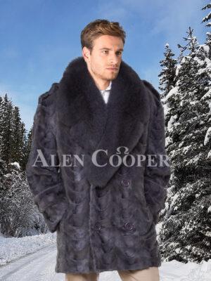 Men's mid-length shawl collar real mink fur incredible warm pea coat in grey