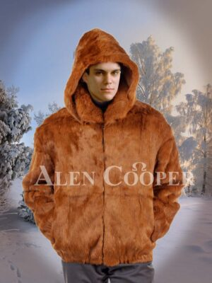 Men's soft and stylish real rabbit fur true warm mid-length winter outerwear in caramel brown
