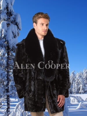 Men's super soft and classy real black real warm real mink fur mid-length winter coat