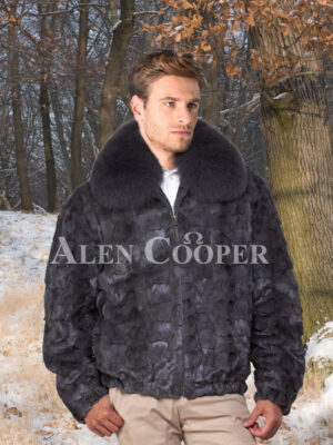 Men's super soft and classy real mink fur bomber jacket with protective collar