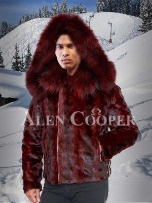 Men's super soft and trendy real mink fur black-burgundy stripped winter jacket