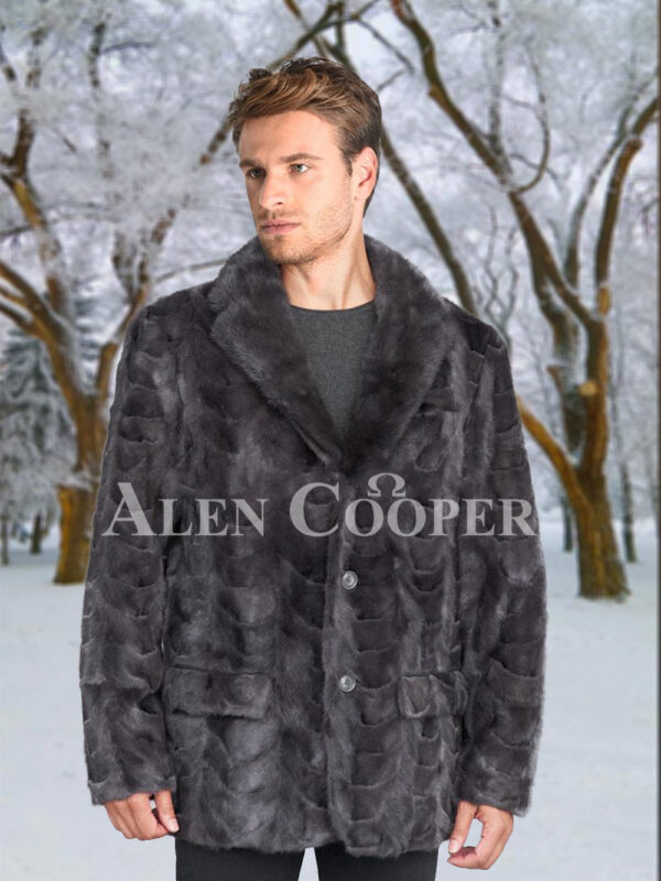 Men's super stylish and classy real mink fur real warm blazer in grey