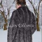 Men's super stylish and classy real mink fur real warm blazer in grey back side view