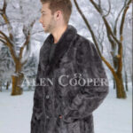Men's super stylish and classy real mink fur real warm blazer in grey side view