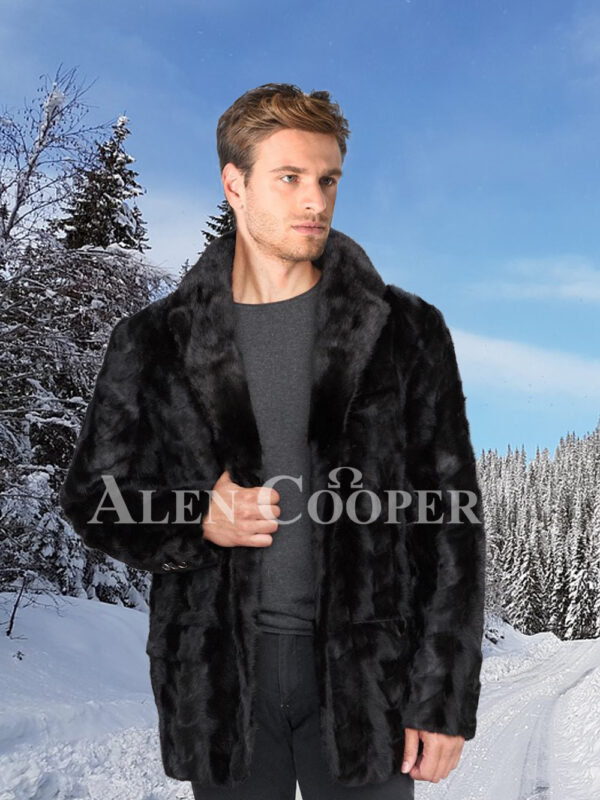 Men's super stylish and real warm real mink fur section blazer in glossy black