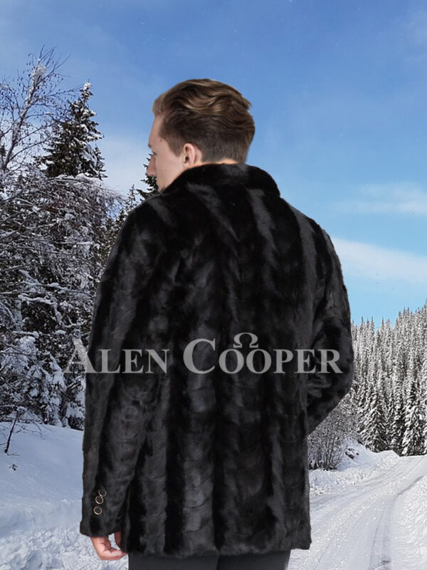 Men's super stylish and real warm real mink fur section blazer in glossy black back side view