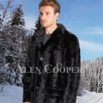 Men's super stylish and real warm real mink fur section blazer in glossy black side view