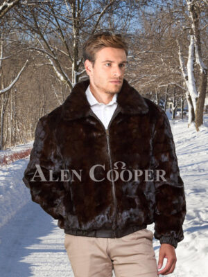 Men's super stylish and warm real mink fur reversible to leather bomber jacket