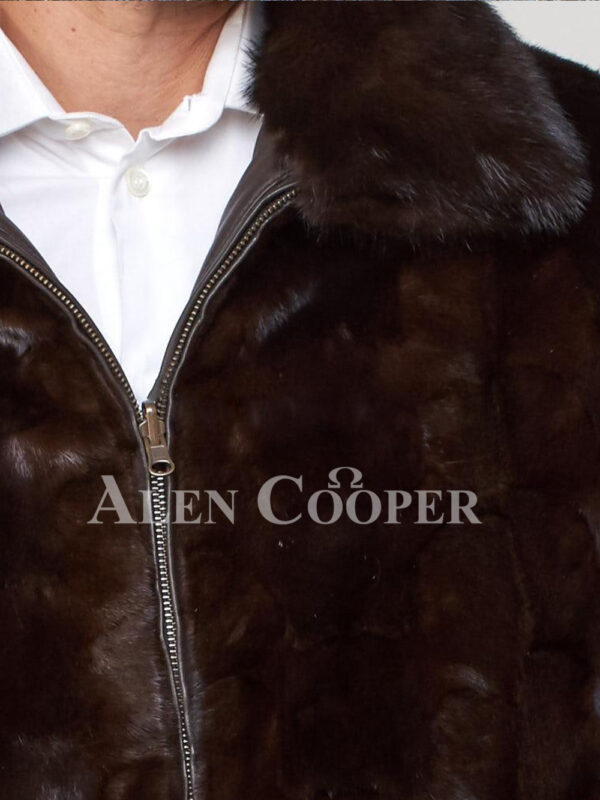 Men's super stylish and warm real mink fur reversible to leather bomber jacket Close view