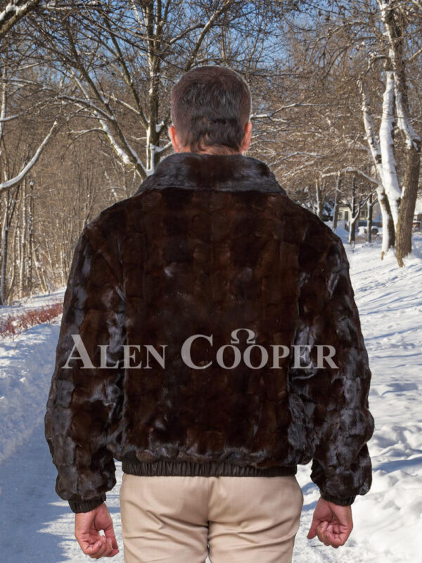 Men's super stylish and warm real mink fur reversible to leather bomber jacket back side view
