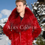 Men's vibrant red super soft and incredible warm real mink fur jacket with fox fur trim collar