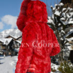 Men's vibrant red super soft and incredible warm real mink fur jacket with fox fur trim collar back side view