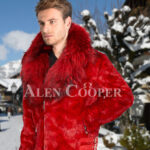 Men's vibrant red super soft and incredible warm real mink fur jacket with fox fur trim collar side view