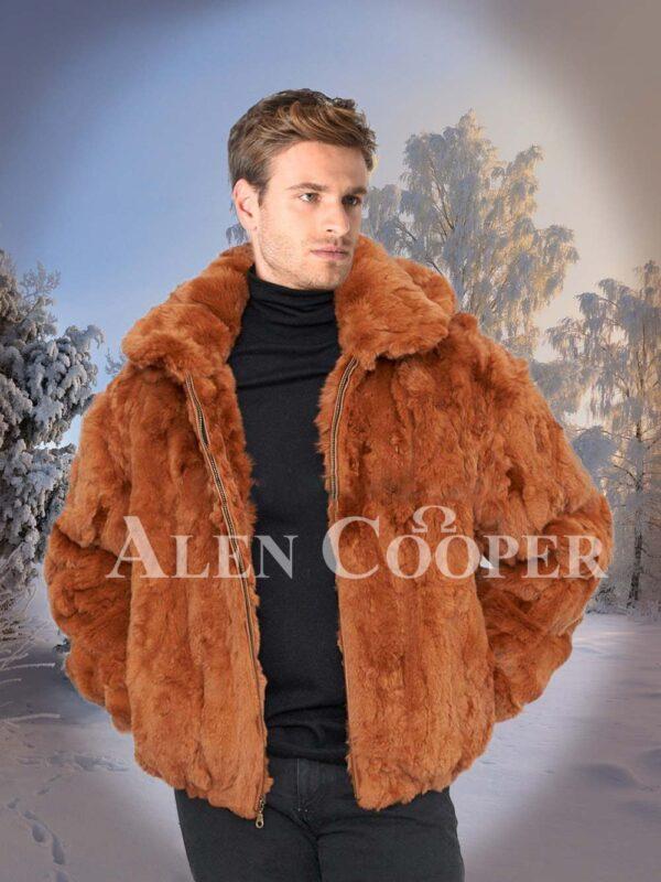 Men Caramel brown real rabbit fur incredible warm winter bomber jacket