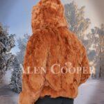 Men Caramel brown real rabbit fur incredible warm winter bomber jacket back side view