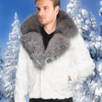 Men amazing snow white mink fur warm winter jacket with silver fox fur trim collar