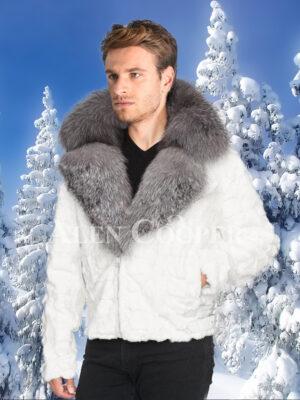 Men amazing snow white mink fur warm winter jacket with silver fox fur trim collar