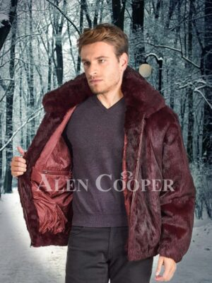 Men classy super soft and supreme warm rabbit fur with collar and hood in burgundy