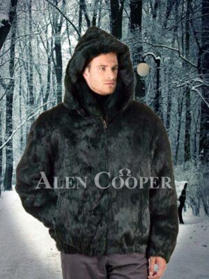 Men coal black super smooth real rabbit fur winter bomber jacket