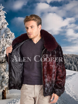Men glossy burgundy ombre real mink fur super warm stylish bomber jacket