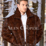 Men iconic real mink warm reversible to leather bomber jacket in brown
