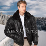 Men iconic super warm reversible mink fur bomber jacket in glossy black
