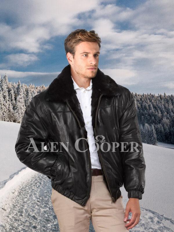 Men iconic super warm reversible mink fur bomber jacket in glossy black